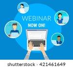 webinar now on concept... | Shutterstock .eps vector #421461649