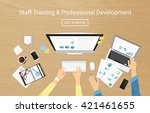 realistic workplace banner for... | Shutterstock .eps vector #421461655
