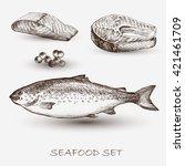 illustration ink seafood salmon ... | Shutterstock .eps vector #421461709