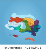 pile of clothes on the floor.... | Shutterstock .eps vector #421462471