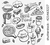 fast food  doodle set | Shutterstock .eps vector #421463227