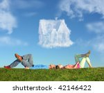 Lying Couple On Grass And Drea...