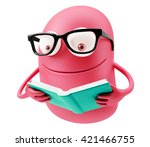 learning emoji cartoon. 3d... | Shutterstock . vector #421466755