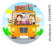 big happy family traveling by... | Shutterstock .eps vector #421469875