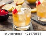 homemade whiskey sour cocktail... | Shutterstock . vector #421470589