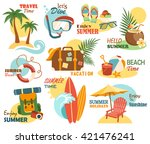 summer vacation labels icons... | Shutterstock .eps vector #421476241