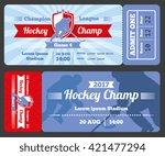 hockey sports ticket card... | Shutterstock .eps vector #421477294