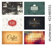 business card set. 6 bright... | Shutterstock .eps vector #421480531