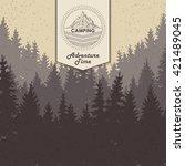 landscape of tree silhouette ... | Shutterstock .eps vector #421489045