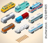 abstract trains. 3d isometric...   Shutterstock . vector #421489405