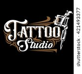 vector tattoo studio logo... | Shutterstock .eps vector #421493377