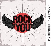 rock music print  wings hipster ... | Shutterstock .eps vector #421495939
