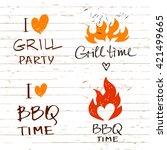 set of vector lettering hand... | Shutterstock .eps vector #421499665
