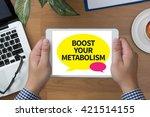 boost your metabolism man hand... | Shutterstock . vector #421514155
