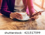 woman using mobile phone in... | Shutterstock . vector #421517599
