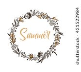 summer wreath for greeting card ... | Shutterstock .eps vector #421522984