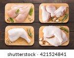 Set Raw Chicken On Cutting...