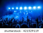 silhouettes of concert crowd in ... | Shutterstock . vector #421529119