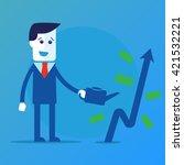businessman is watering a tree... | Shutterstock .eps vector #421532221