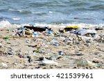beach pollution. plastic... | Shutterstock . vector #421539961