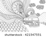 van line art design for... | Shutterstock .eps vector #421547551