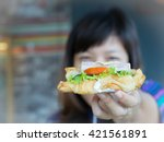 ham cheese croissant focus with ... | Shutterstock . vector #421561891