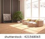 white interior design of living ... | Shutterstock . vector #421568065