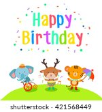 happy birthday with cute... | Shutterstock .eps vector #421568449
