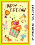 happy birthday with cute... | Shutterstock .eps vector #421568455
