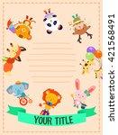 cute animals surrounding notes...   Shutterstock .eps vector #421568491
