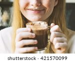 youth woman drinks hot... | Shutterstock . vector #421570099