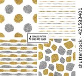 set of seamless pattern of gold ... | Shutterstock .eps vector #421583401