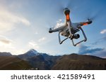 uav drone copter flying with... | Shutterstock . vector #421589491