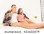 afraid man and woman watching... | Shutterstock . vector #421602079