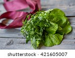 lettuce tied with ribbon like a ... | Shutterstock . vector #421605007