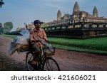 siem reap march 04  male riding ... | Shutterstock . vector #421606021