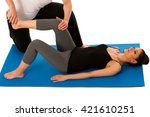 physiotherapy   therapist doing ... | Shutterstock . vector #421610251