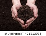 bunch of good soil in hands on... | Shutterstock . vector #421613035