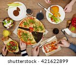 view from above the table of... | Shutterstock . vector #421622899