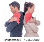 divorced separating couple | Shutterstock . vector #421630009