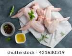 fresh chicken wings with spices ...   Shutterstock . vector #421630519