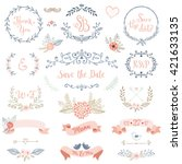 Rustic hand sketched wedding elements set. Floral doodles, branches, flowers, birds, laurels, banners and frames. Good for Save the Date cards, Wedding invitations, Thank You cards and RSVP cards. | Shutterstock vector #421633135
