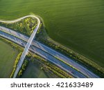 aerial view of a highway amid... | Shutterstock . vector #421633489