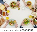 above view of dinner table | Shutterstock . vector #421633531