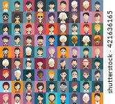 set of people icons in flat... | Shutterstock .eps vector #421636165