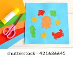 paper applique with sea animals ... | Shutterstock . vector #421636645