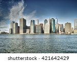 view of the manhattan from east ... | Shutterstock . vector #421642429