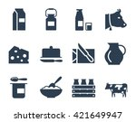 dairy products vector icon set | Shutterstock .eps vector #421649947