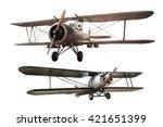 Set Of Steel Ancient Airplane...