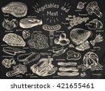 meat  vegetables  beef  cabbage ...   Shutterstock .eps vector #421655461